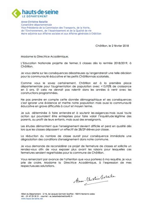 COURRIER fermeture 5 classes primaires Châtillon