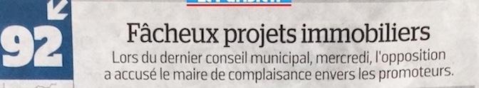Article du Parisien sur les «Fâcheux projets immobiliers» discutés en conseil municipal le 10 avril dernier