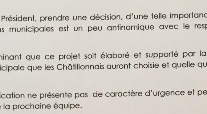 Conseil du territoire : Jean-Claude Carepel, au nom d'un Avenir pour Châtillon, a interpellé son Président, le 10 février dernier, pour demander le report du vote sur la modification du PLU de la zone des Arues. A ce jour nous n'avons pas reçu de réponse…